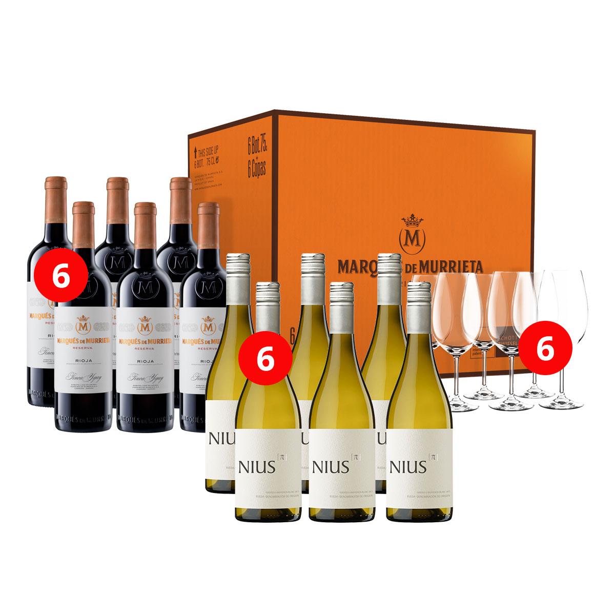 Wijnpakket Murrieta en Nius met Schott Zwiesel wijnglazen