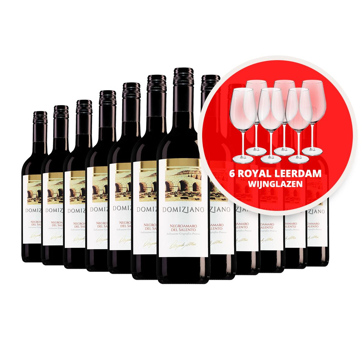 Domiziano wijnpakket + 6 Royal Leerdam wijnglazen